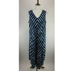 Lands End Womens Midi Dress Womens 14 Blue B24-13Z